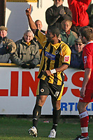 Photo: Pete Lorence.<br /> Boston United v Swindon Town. Coca Cola League 2. 20/01/2007.<br /> Justin Richards celebrates an early goal, but didn't do much to prevent the Swindon onslaught that left Boston 3-1 down.