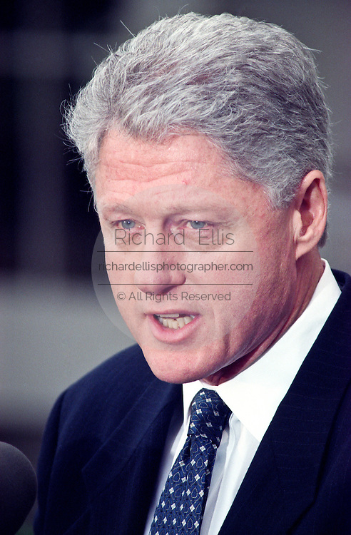 President Clinton makes a short statement after the Senate acquitting him of impeachment charges in the Rose Garden at the White House February 12, 1999. Clinton said he was ''''profoundly sorry'''' about the Monica Lewinsky scandal and also appealed for a ``time of reconciliation and renewal for America'''' now that the long ordeal is over.