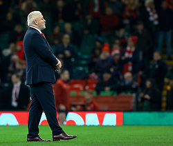 Head Coach Warren Gatland of Wales during the pre match warm up<br /> <br /> Photographer Simon King/Replay Images<br /> <br /> Under Armour Series - Wales v South Africa - Saturday 24th November 2018 - Principality Stadium - Cardiff<br /> <br /> World Copyright © Replay Images . All rights reserved. info@replayimages.co.uk - http://replayimages.co.uk