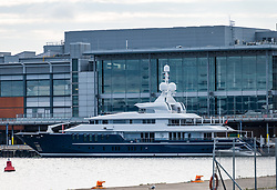 Triple Seven, Leith, Edinburgh, Leith, Scotland, United Kingdom 18  August 2021: <br /> Triple Seven at Leith Docks: The luxury super yacht reportedly being hired by Tom Cruise is docked at Ocean terminal next to the Royal Yacht Britannia having arrived yesterday. It has been sighted travelling around the coast of Scotland, lately in the Firth of Forth at the Bass Rock and off the coast at Dunbar.<br /> Sally Anderson | EdinburghElitemedia.co.uk