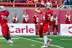 NORMAL, IL - October 02: Jackson Waring in forward motion with a pass while in the pocket during a college football game between the Bears of Missouri State and the ISU (Illinois State University) Redbirds on October 02 2021 at Hancock Stadium in Normal, IL. (Photo by Alan Look)