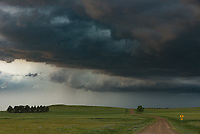 After driving for over 5 hours I finally reached the edge of this powerful supercell just west of Faith, South Dakota. From a distance I could see wall clouds and funnels, but up close they disappeared. I was having trouble recognizing the storm structure until I noticed this horseshoe-shaped RFD cut. The back of the horseshoe shows where a potential tornado would form. There was a short-lived funnel, visible at the bottom center. At the time there was a mobile dopplar radar parked down the road scanning the skies.
