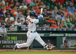 July 28, 2018 - Houston, TX, U.S. - HOUSTON, TX - JULY 28:  Houston Astros shortstop Alex Bregman (2) grounds out in the bottom of the second inning during the baseball game between the Texas Rangers and Houston Astros on July 28, 2018 at Minute Maid Park in Houston, Texas.  (Photo by Leslie Plaza Johnson/Icon Sportswire) (Credit Image: © Leslie Plaza Johnson/Icon SMI via ZUMA Press)