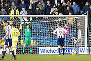 Millwall forward Lee Gregory (9), penalty kick during the EFL Sky Bet League 1 match between Millwall and Peterborough United at The Den, London, England on 28 February 2017. Photo by Sebastian Frej.