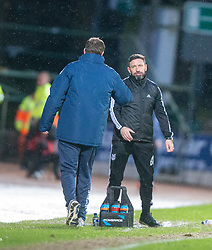 St Johnstone manager Tommy Wright and Aberdeen manager Derek McInnes at the end. <br /> St Johnstone 3 v 4Aberdeen, SPFL Ladbrokes Premiership played 6/2/2016 at McDiarmid Park, Perth.