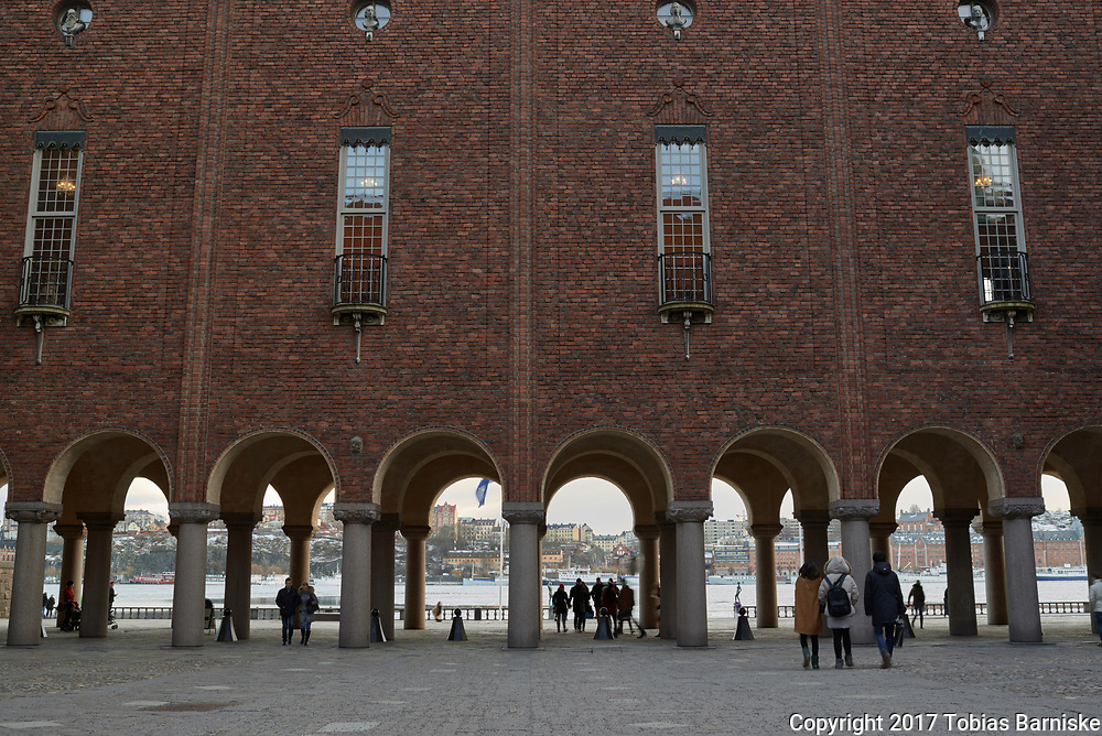 Courtyard of the town hall in Stockholm. Called Stadshus, the town hall is the venue where the reception of the Nobel prizes take place