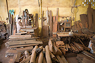 Joiner workshop in the craft village of Dong Ky, specialized in wood furnitures manufacture. Vietnam, Asia