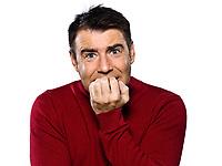 caucasian man fear afraid studio portrait on isolated white backgound