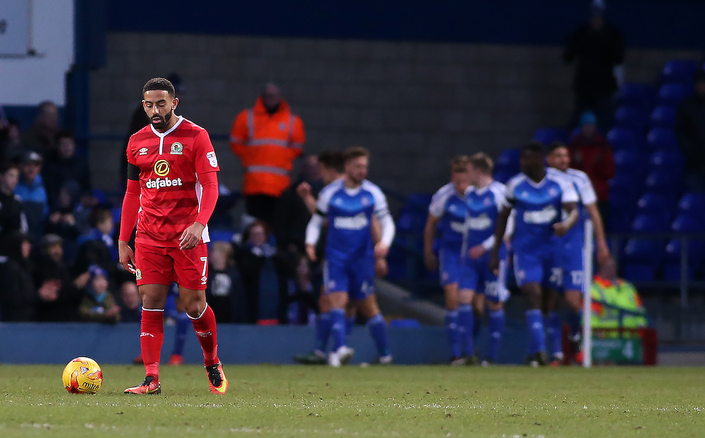 Blackburn Rovers' Liam Feeney trudges back to the halfway line as Ipswich Town celebrate going 2-1 ahead<br /> <br /> Photographer David Shipman/CameraSport<br /> <br /> The EFL Sky Bet Championship - Ipswich Town v Blackburn Rovers - Saturday 14th January 2017 - Portman Road - Ipswich<br /> <br /> World Copyright © 2017 CameraSport. All rights reserved. 43 Linden Ave. Countesthorpe. Leicester. England. LE8 5PG - Tel: +44 (0) 116 277 4147 - admin@camerasport.com - www.camerasport.com