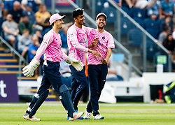 Mujeeb ur Rahman of Middlesex celebrates catching Owen Morgan of Glamorgan<br /> <br /> Photographer Simon King/Replay Images<br /> <br /> Vitality Blast T20 - Round 4 - Glamorgan v Middlesex - Friday 26th July 2019 - Sophia Gardens - Cardiff<br /> <br /> World Copyright © Replay Images . All rights reserved. info@replayimages.co.uk - http://replayimages.co.uk