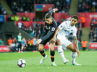 Football - 2016 / 2017 Premier League - Swansea City vs. Everton<br /> <br /> Kevin Mirallas  of Everton & Kyle Naughton of Swansea, at Liberty Stadium.<br /> <br /> COLORSPORT/WINSTON BYNORTH