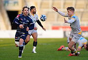Wasps fly-half Charlie Atkinson tried to block a pass by Sale Sharks scrum-half Faf De Klerk during the Gallagher Premiership Rugby match Sale Sharks -V- Wasps  at The AJ Bell Stadium, Greater Manchester, England United Kingdom, Sunday, December 27, 2020. (Steve Flynn/Image of Sport)