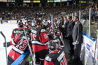 KELOWNA, CANADA - NOVEMBER 9: Team WHL stands at the bench during the time out against the Team Russia on November 9, 2015 during game 1 of the Canada Russia Super Series at Prospera Place in Kelowna, British Columbia, Canada.  (Photo by Marissa Baecker/Western Hockey League)  *** Local Caption ***