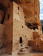 An adobe tower which is part of the Cliff Palace, in Mesa Verde National Park in Colorado, is built into the cliff overhang. The culture represented at Mesa Verde reflects more than 700 years of history. From approximately A.D. 600 through A.D. 1300 people lived and flourished in communities throughout the area.