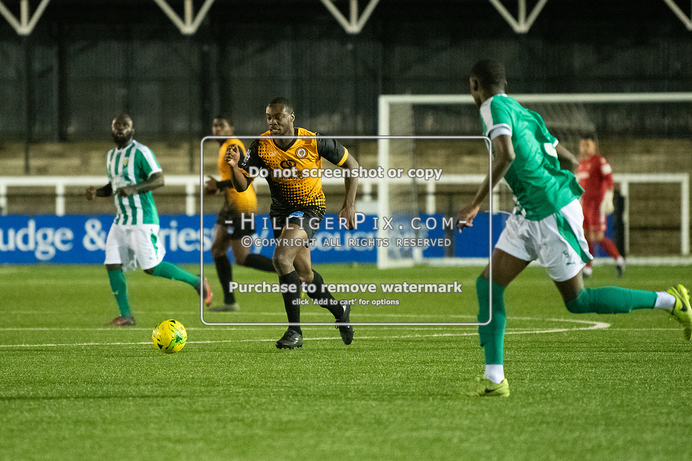 BROMLEY, UK - OCTOBER 30: Charles Etumnu, of Cray Wanderers FC, during the Kent Senior Cup match between Cray Wanderers and VCD Athletic at Hayes Lane on October 30, 2019 in Bromley, UK. <br /> (Photo: Jon Hilliger)