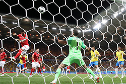 ROSTOV-ON-DON, June 17, 2018  Steven Zuber (L top) of Switzerland heads the ball to score during a group E match between Brazil and Switzerland at the 2018 FIFA World Cup in Rostov-on-Don, Russia, June 17, 2018. The match ended in a 1-1 draw. (Credit Image: © Li Ming/Xinhua via ZUMA Wire)