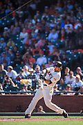 San Francisco Giants left fielder Angel Pagan (16) connects with a pitch late in the game against the Arizona Diamondbacks at AT&T Park in San Francisco, Calif., on August 31, 2016. (Stan Olszewski/Special to S.F. Examiner)