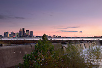 Downtown Louisville Skyline and the Falls of the Ohio at Sunset, Clarksville, Indiana