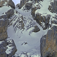 A steep, cliffy gully down which Allan Pietrasanta, Jay Jensen and Gordon Wiltsie were avalanched, near the end of the first-ever winter ski traverse over India's Great Himalaya Range from Ladakh to Kashmir.  All survived, but Wiltsie crushed two vertebrae and - not knowing the extent of his injuries - skied out under his own power.