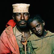 Portrait of Hamer tribesman and his son, Turmi, Lower Omo Valley, Ethiopia