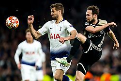 Daley Blind of Ajax takes on Fernando Llorente of Tottenham Hotspur - Mandatory by-line: Robbie Stephenson/JMP - 30/04/2019 - FOOTBALL - Tottenham Hotspur Stadium - London, England - Tottenham Hotspur v Ajax - UEFA Champions League Semi-Final 1st Leg