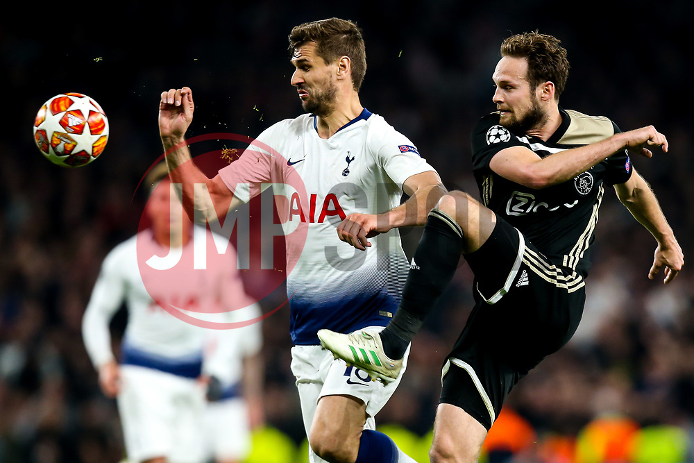 Daley Blind of Ajax takes on Fernando Llorente of Tottenham Hotspur - Mandatory by-line: Robbie Stephenson/JMP - 30/04/2019 - FOOTBALL - Tottenham Hotspur Stadium - London, England - Tottenham Hotspur v Ajax - UEFA Champions League Semi-Final 1st Leg