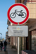 Furadouro beach, Ovar, a small municipality on the Atlantic ocean coast, Portugal No Cycling sign at the main commercial pedestrian street Avenida dos Bombeiros Voluntarios do Porto