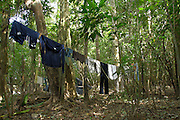 Lago Agrio - Tuesday, Dec 18 2007: A washing line is used to dry clothes in the humid rainforest in Cuyabeno National Park.  (Photo by Peter Horrell / http://www.peterhorrell.com)