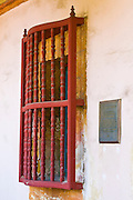 Window and plaque, Santa Barbara Mission (Queen of the missions), Santa Barbara, California