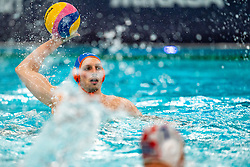 Jesse Nispeling of the Netherlands in action against Croatia during the Olympic qualifying tournament. The Dutch water polo players are on the hunt for a starting ticket for the Olympic Games on February 15, 2021 in Rotterdam