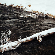 A frosted stream in Yellowstone National Park in Winter.