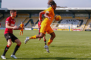 Dolly Menga of Livingstone takes the ball on his chest during the Ladbrokes Scottish Premiership match between Livingston and St Mirren at Tony Macaroni Arena, Livingstone, Scotland on 20 April 2019.