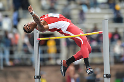 April 27, 2018 - Philadelphia, Pennsylvania, U.S - JATORY REID (19) from NC State competes in the High Jump during the meet held in Franklin Field in Philadelphia, Pennsylvania. (Credit Image: © Amy Sanderson via ZUMA Wire)