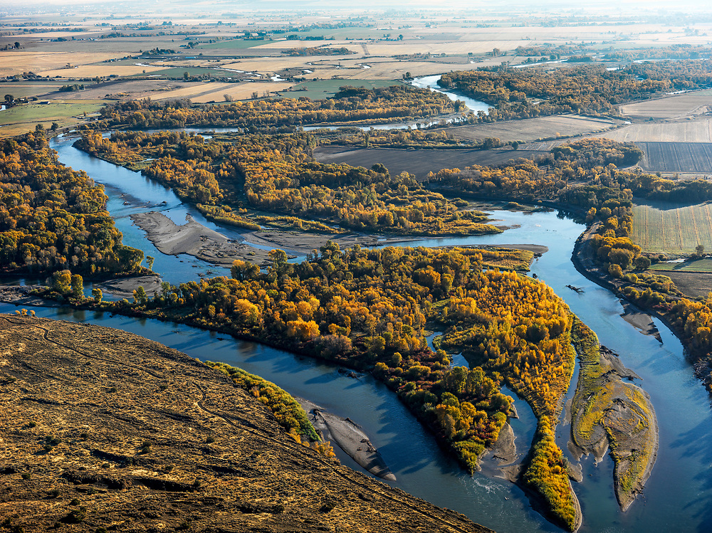Open Edition<br /> Henrys Fork of the Snake River meanders just before converging with the South Fork of the Snake River near the Menan Butte close to Idaho Falls in Southeast Idaho
