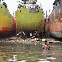 A boatyard on the Buriganga river, Dhaka, Bangladesh