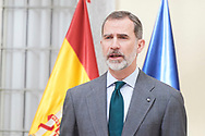 King Felipe VI of Spain attends the Delivery of the National Research Awards 2018 at Palacio de El Pardo on February 21, 2019 in Madrid, Spain