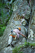 Rock climbing, free climbing on Black Crag, in the Lake District National Park, Cumbria, UK