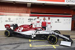 February 18, 2019 - Barcelona, Spain - Kimi Raikkonen and Antonio Giovinazzi and team principal Fredric Vasseaur of Alfa Romeo Racing present a new Formula One car before winter test in Barcelona, on February 18, 2019. (Credit Image: © Andrea Diodato/NurPhoto via ZUMA Press)