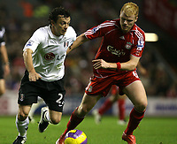 Photo: Paul Greenwood/Sportsbeat Images.<br />Liverpool v Fulham. The FA Barclays Premiership. 10/11/2007.<br />Fulhams Simon Davies, (L) battles with John Arne Riise
