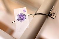 Bialystok, 04.08.2020. Poczatek przedterminowego glosowania w wyborach prezydenckich na Bialorusi w Konsulacie Generalnym Republiki Bialorus w Bialymstoku. Przedterminowe glosowanie w wyborach prezydenckich na Bialorusi rozpoczelo sie dzis (wtorek) i potrwa do soboty. Wlasciwym dniem wyborow prezydenckich jest niedziela 9 sierpnia. Opozycja apeluje do wyborcow, by nie glosowali przed tym dniem, poniewaz wczesniejsze glosowanie umozliwia falszerstwa. N/z plomba na urnie wyborczej fot Michal Kosc / AGENCJA WSCHOD