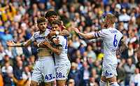 Leeds United's Mateusz Klich and Gaetano Berardi are held by Aston Villa's Tyrone Mings after Klich scored a controversial goal<br /> <br /> Photographer Alex Dodd/CameraSport<br /> <br /> The EFL Sky Bet Championship - Leeds United v Aston Villa - Sunday 28th April 2019 - Elland Road - Leeds<br /> <br /> World Copyright © 2019 CameraSport. All rights reserved. 43 Linden Ave. Countesthorpe. Leicester. England. LE8 5PG - Tel: +44 (0) 116 277 4147 - admin@camerasport.com - www.camerasport.com