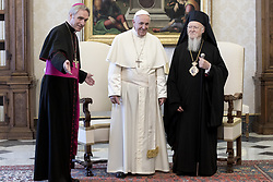 Pope Francis meets with ecumenical Patriarch Bartholomew I of Constantinople during an audience at the Apostolic Palace at the Vatican on May 26, 2018. Photo: ABACAPRESS.COM