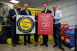 Pictured: Jim McFedries, Scotmid Head of Profit Protection and Security, Paddy Lillis, USDAW general secretary, Lauren Farwell, store manager, Daniel Johnson and Campbell Lochrie, Scotmid Regional Business manager<br /><br />Labour MSP Daniel Johnson's Member's Bill is formally introduced at Holyrood. Mr Johnson will be available for interview with Paddy Lillis, USDAW general secretary<br /><br />Ger Harley | EEm 11 October 2019