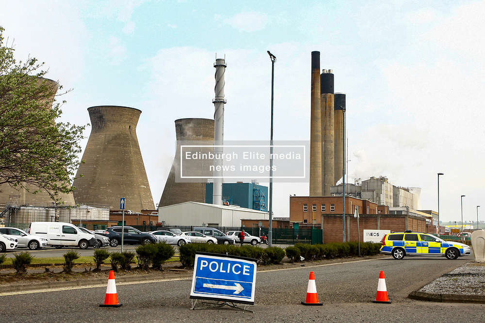 Pictured: A major incident has been declared at Grangemouth Ineos Petrochemical plant in central Scotland following a maor gas leak at the plant. Roads in the area have been closed and 8 fire appliences are in attendance at the scene within the complex. The plant has been evacuated and local schools have been placed on lockdown. Local residents have been advised to stay indoors until the situation is resolved.  Andrew West/ EEm