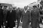 Canadian Prime Minister, Pierre Trudeau arrives in Dublin    (J17).14.03.1975.03.14.1975.3rd April 1975..Pierre Trudeau arrived today for a brief visit to Ireland. He was greeted by the Taoiseach Mr. Liam Cosgrave on his arrival at Dublin Airport..Picture of An Taoiseach Liam Cosgrave with Canadian Prime Minister Pierre Trudeau as they go to inspect the guard of honour.
