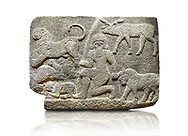 Picture & image of Hittite relief sculpted orthostat stone panel of Herald's Wall Basalt, Karkamıs, (Kargamıs), Carchemish (Karkemish), 900700 B.C. Anatolian Civilisations Museum, Ankara, Turkey.<br /> <br /> In the middle is a kneeling bearded figure holding the bull's horn with his left hand and the lion's hind leg with his right hand. Below this lion is another lion whose chest and the head are missing, and below this second lion is another small lion. A deer stands behind his head. It is thought that this relief depicts Gilgamesh, the master of animals. <br /> <br /> Against a white background. .<br />  <br /> If you prefer to buy from our ALAMY STOCK LIBRARY page at https://www.alamy.com/portfolio/paul-williams-funkystock/hittite-art-antiquities.html  - Type  Karkamıs in LOWER SEARCH WITHIN GALLERY box. Refine search by adding background colour, place, museum etc.<br /> <br /> Visit our HITTITE PHOTO COLLECTIONS for more photos to download or buy as wall art prints https://funkystock.photoshelter.com/gallery-collection/The-Hittites-Art-Artefacts-Antiquities-Historic-Sites-Pictures-Images-of/C0000NUBSMhSc3Oo