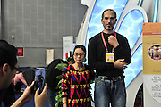 CHENGDU, CHINA - OCTOBER 23: (CHINA OUT) <br /> <br /> Wax Statue Steve Jobs Sells Apple <br /> <br /> A wax statue of Steve Jobs, founder of Apple Inc. near an apple exhibition stand is seen on October 23, 2014 in Chengdu, Sichuan province of China. A wax statue of Steve Jobs, founder of Apple Inc. is settled near an apple exhibition stand at Shaanxi booth on Promotion Conference of the 15th western China International Fair to advertise Luochuan apple by an exhibitor.<br /> ©v