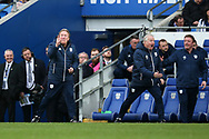 Neil Warnock, the Cardiff city manager (l) reacts and shows his frustration on the touchline. EFL Skybet championship match, Cardiff city v Birmingham City at the Cardiff city stadium in Cardiff, South Wales on Saturday 10th March 2018.<br /> pic by Andrew Orchard, Andrew Orchard sports photography.