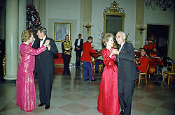 United States President Ronald Reagan and Prime Minister Margaret Thatcher of Great Britain share a dance in the Entrance Hall of the the White House in Washington, D.C. following the dinner in her honor on Wednesday, November 16, 1988. At right their spouses, first lady Nancy Reagan and Denis Thatcher share a dance as well. Thatcher died from a stroke at 87 on Monday, April 8, 2013. EXPA Pictures © 2016, PhotoCredit: EXPA/ Photoshot/ Ron Sachs<br /> <br /> *****ATTENTION - for AUT, SLO, CRO, SRB, BIH, MAZ, SUI only*****
