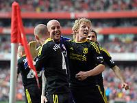 Dirk Kuyt Celebrates Scoring equaliser with team mate Pepe Reina<br />Liverpool 2010/11<br />Arsenal V Liverpool (1-1) 17/04/11<br />The Premier League<br />Photo: Robin Parker Fotosports International
